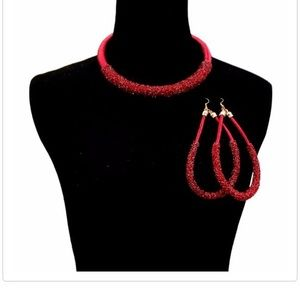 Jewelry - Glitter Red Necklace Set